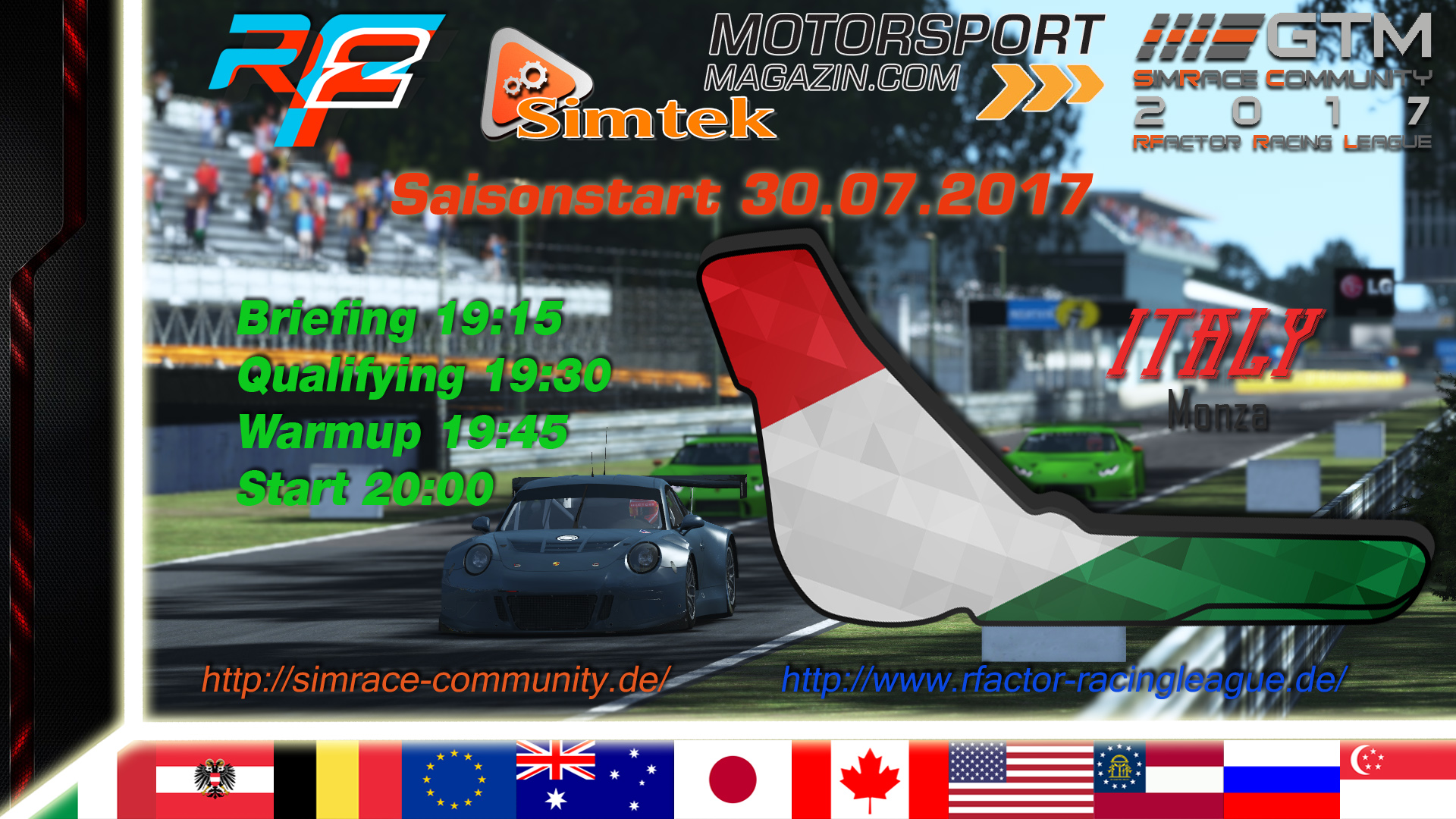 Ankündigung SRC RFRL GTM 2017 1. Wertungslauf Monza